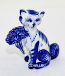 Скульптура кот «С букетом» авт. А. Киселев