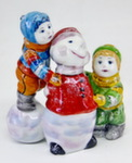 Скульптура «Дети со снеговиком» цвет авт. М. Тарыгин