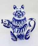 Скульптура «Кот с рыбой» чайник авт. Ю.М.Мухин