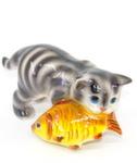 Скульптура «Кот с рыбой» цвет полосатый авт. Ю.М.Мухин